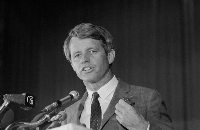 Archiefbeeld. Senator Robert F. Kennedy tijdens een toespraak in Atlantic City, Verenigde Staten. (09/05/1968)