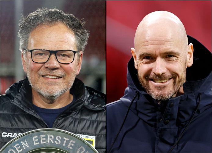 Henk de Jong (l) en Erik ten Hag.
