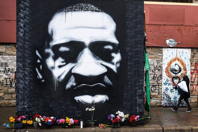 Een muurschildering ter ere van George Floyd (1973-2020) in Minneapolis.