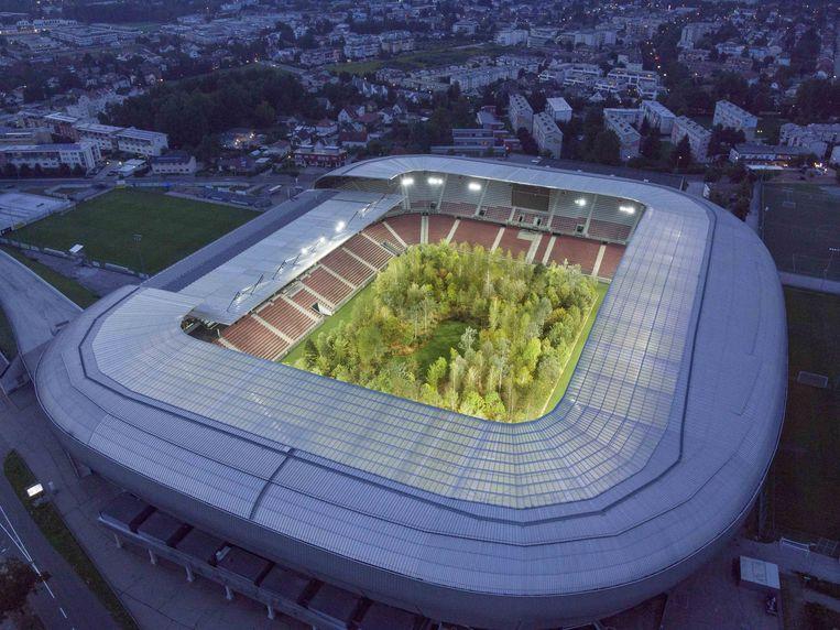 Het bos van Littmann, verlicht door de schijnwerpers van het stadion.  Beeld UNIMO