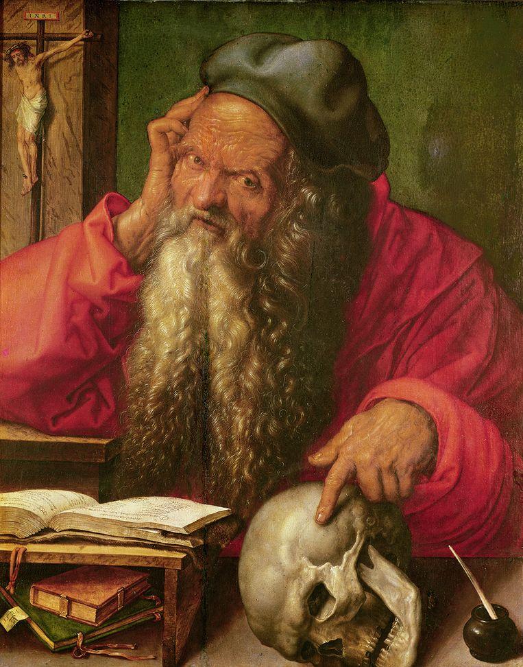 Albrecht Dürer, Sint Hiëronymus, 1521, olieverf op paneel, 59,5 x 48,5 cm Beeld Museo Nacional de Arte Antiga