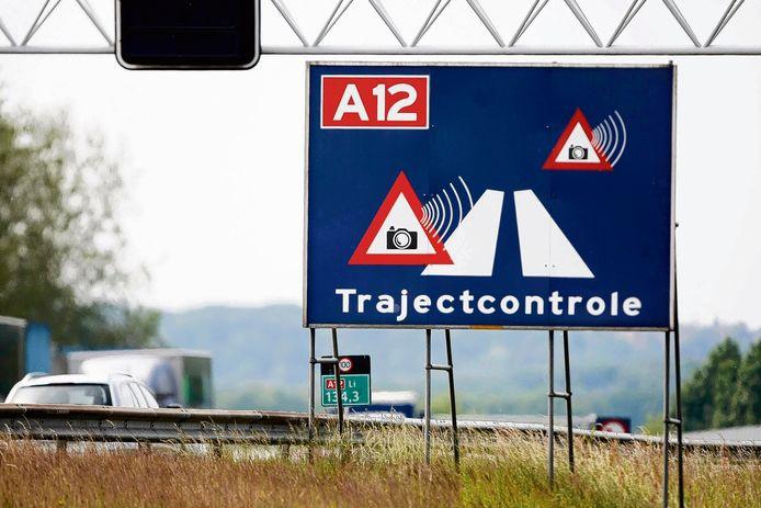 De trajectcontrole langs de A12 bij Arnhem op archiefbeeld.