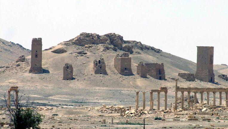 Een plaat van Palmyra, genomen in mei 2015. Sinds de stad in handen viel van IS, zijn diverse gebouwen verwoest. Beeld AP