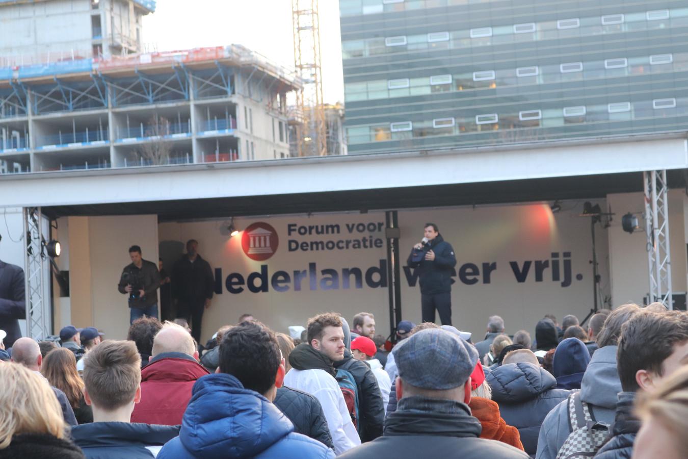 Forum voor Democratie-leider Thierry Baudet tijdens de bijeenkomst in Utrecht.