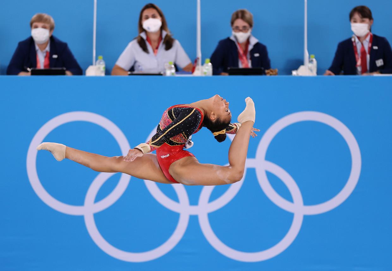 Jutta Verkest tijdens de halve finale op de tweede dag van de Olympische Spelen Beeld Getty Images