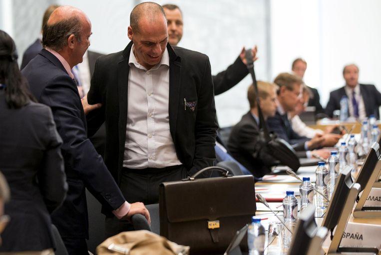 De Griekse minister van Financiën Yanis Varoufakis op de vergadering van de eurogroep. Beeld REUTERS