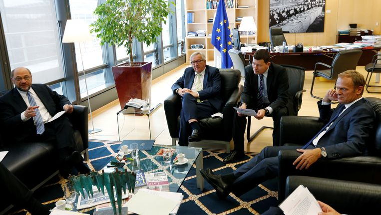 Europees parlementsvoorzitter Schultz, Commissievoorzitter Juncker en Europees president Donald Tusk. Beeld REUTERS