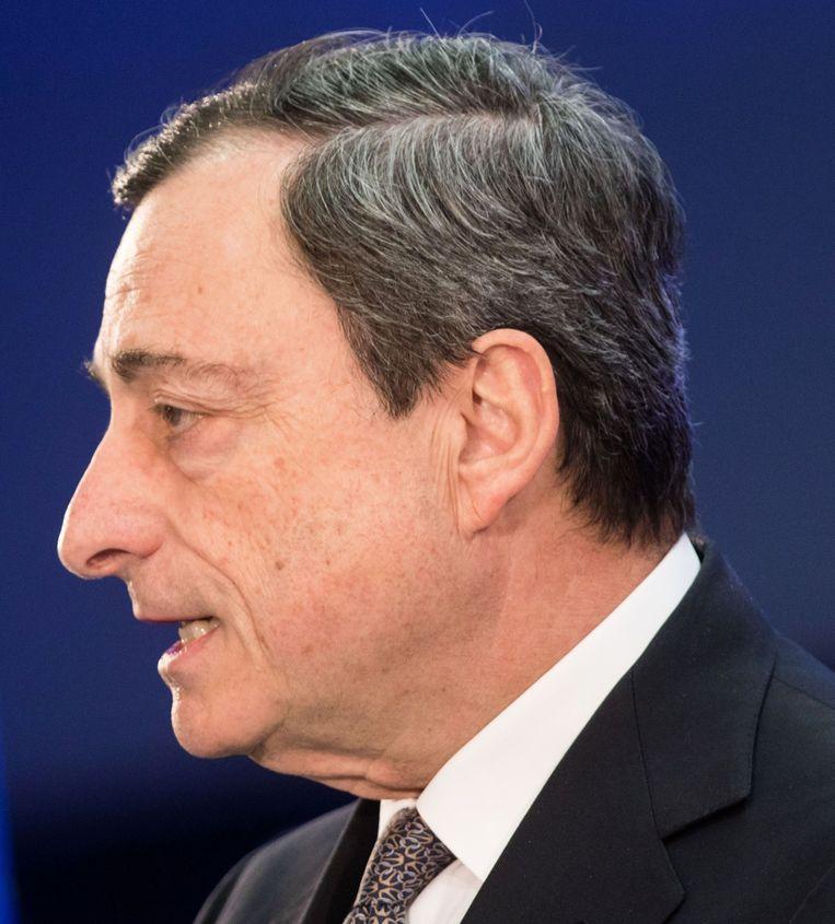 ECB-voorzitter Draghi, de gebeten hond voor de actievoerders. Beeld AFP