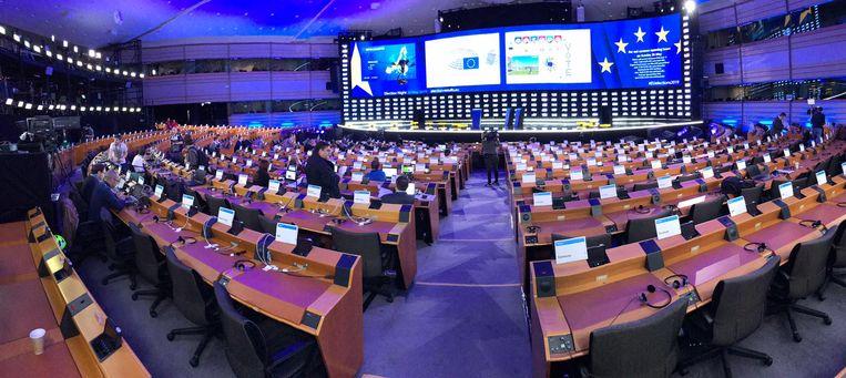 De vergaderzaal van het Europees Parlement in Brussel. Beeld Christoph Schmidt