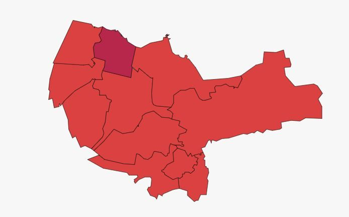 De besmettingen in kaart gebracht door LocalFocus