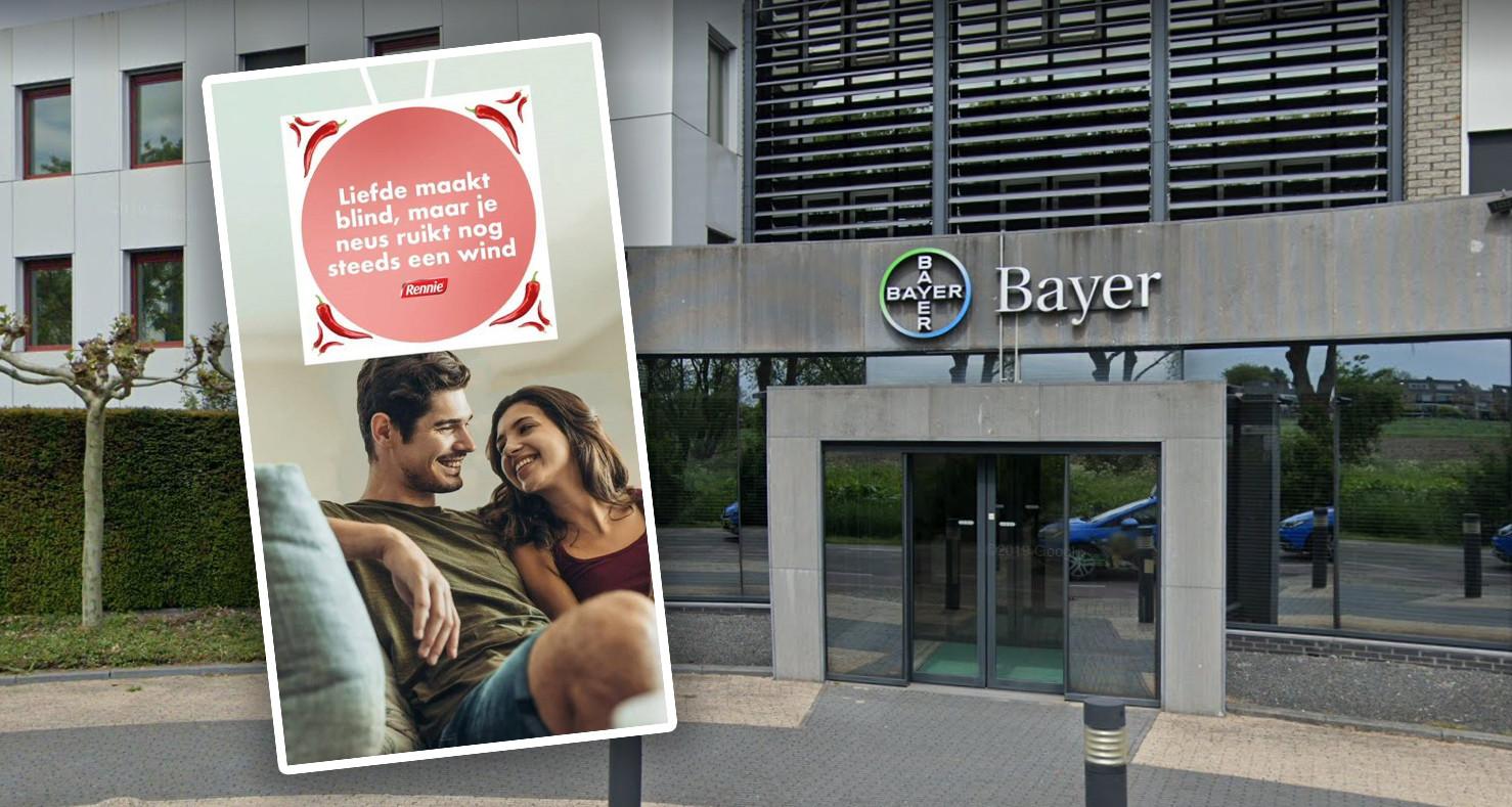 De slogan van Bayer Nederland, gevestigd in Mijdrecht: 'Liefde maakt blind, maar je neus ruikt nog steeds een wind'.