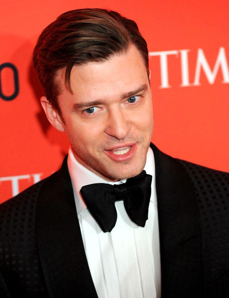 Justin Timberlake op het gala van Time, voorafgaand aan zijn ontmoeting met Ricky Gervais. Beeld getty