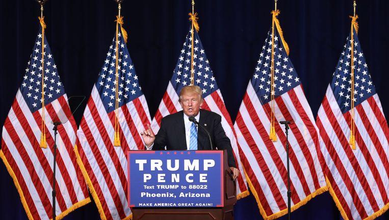 Donald Trump legde gisteren uit hoe hij een einde wil maken aan illegale immigratie. Beeld AFP