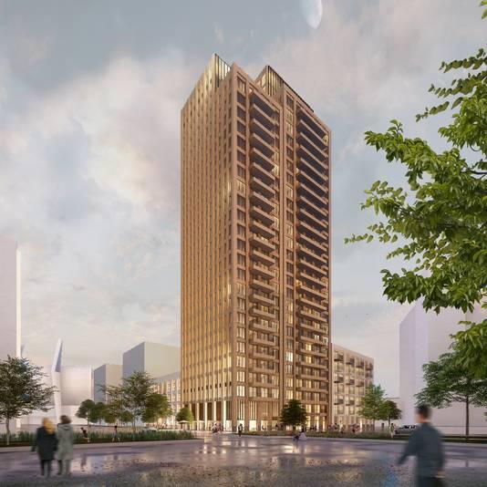 De Victoriatoren met 330 woningen; deze moet verrijzen op het parkeerterrein achter het TAC-gebouw aan de Mathildelaan in Eindhoven.