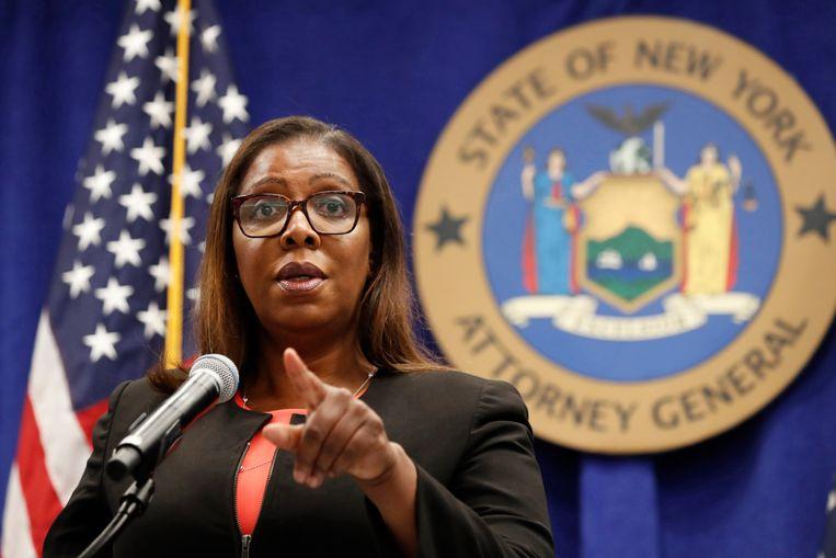 Letitia James, hoofdaanklager van de staat New York, geeft toelichting op de rechtszaak tegen Facebook. Beeld AP
