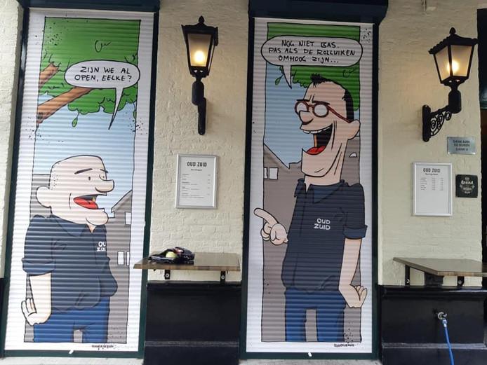 De ludieke prenten op de rolluiken van café Oud Zuid in Vught moesten worden verwijderd.