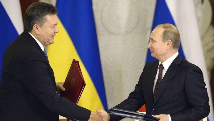 De Russische president Vladimir Poetin en president Viktor Janoekovitsj van Oekraïne.
