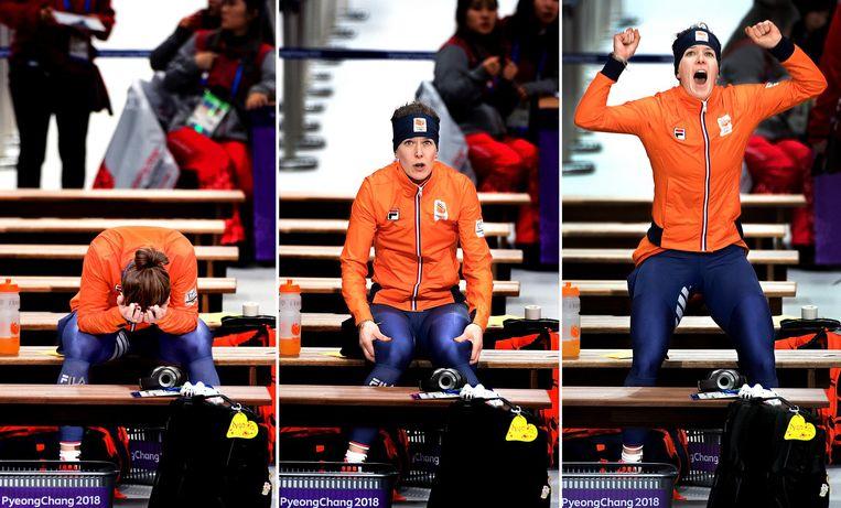 De ontlading van Ireen Wüst als zij ziet dat Miho Takagi 0,2 seconden tekort komt op de 1.500 meter. Beeld Klaas Jan van der Weij / de Volkskrant