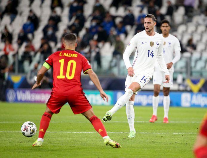 Adrien Rabiot face à Eden Hazard jeudi dernier lors de la demi-finale de la Nations League.