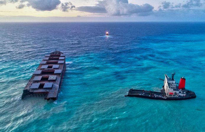 Le vraquier japonais MV Wakashio s'était échoué le 25 juillet sur un récif à la Pointe d'Esny, au sud-est de l'île Maurice, avec 3.800 tonnes de fioul et 200 tonnes de diesel à bord.