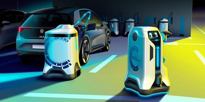 De laadrobot komt naar je auto toe