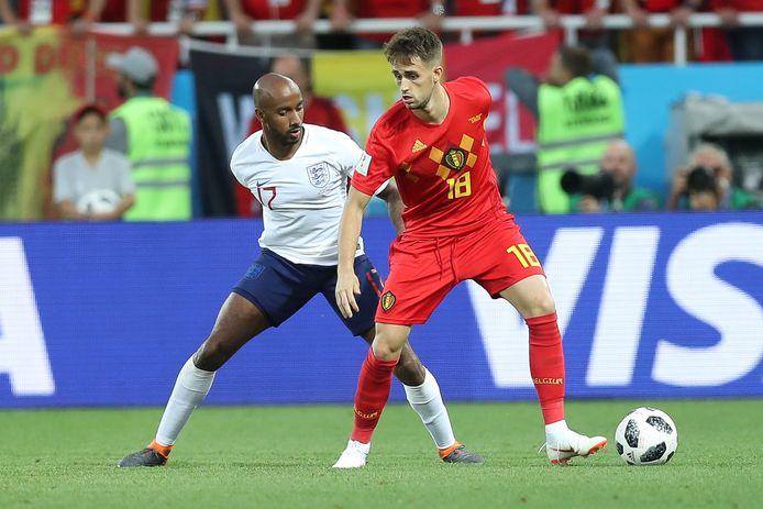 OP 28 juni speelden Engeland en België ook al tegen elkaar: Fabian Delph in duel met Adnan Januzaj, die het enige doelpunt zou maken.