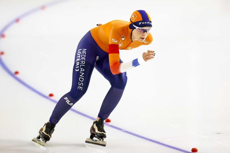 Irene Schouten in actie tijdens de 5000 meter  Beeld ANP