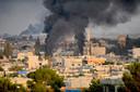 Rook boven het noord-Syrische dorp Ras al-Ayn, gisterennamiddag.