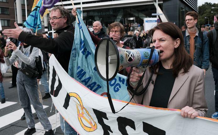 Tessel Hofstede tijdens een van de bezettingsacties in Den Haag, deze week.