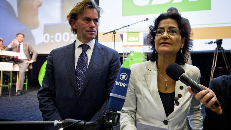 Kathleen Ferrier (rechts) op het CDA-congres waar werd besloten over regeringsdeelname met gedoogsteun van de PVV, vorig jaar. Beeld ANP