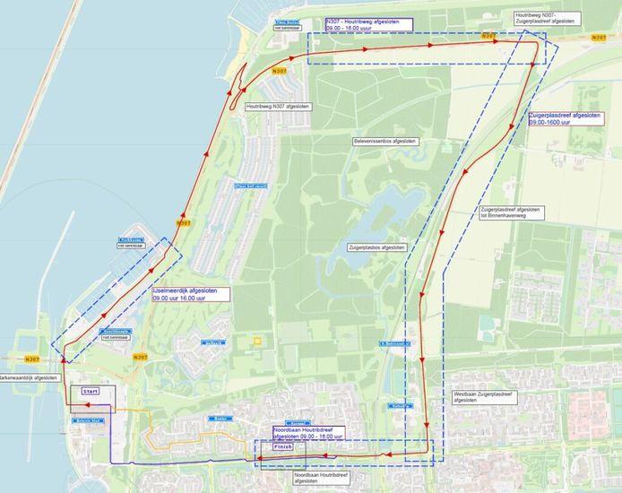 De elf kilometer lange route van de Benelux Tour in Lelystad.