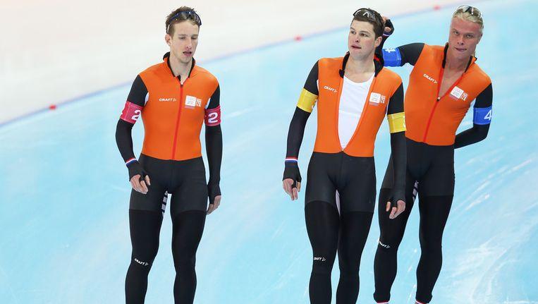 Vanaf links: Jan Blokhuijsen, Sven Kramer en Koen Verweij. Beeld getty