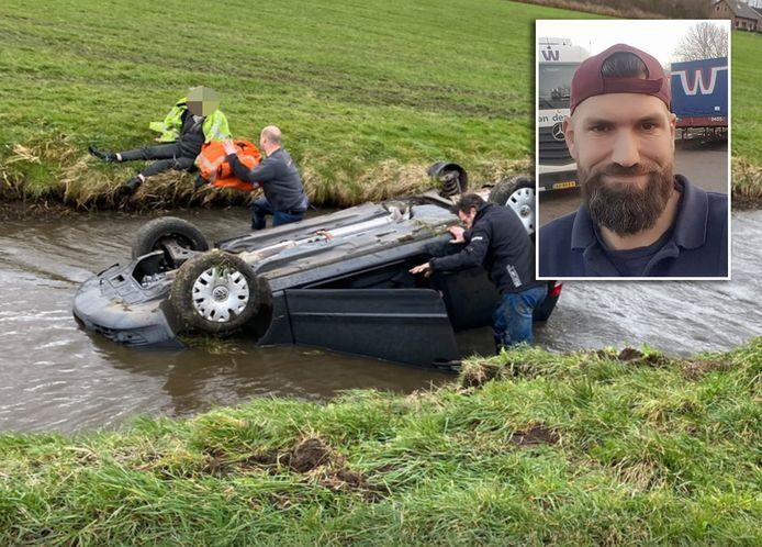 Remco Kompier redde de 72-jarige man uit Nijkerk uit een auto in de sloot.