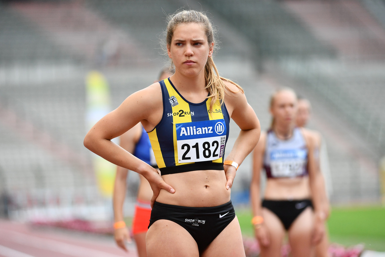 Rani Baillievier op het BK 800m in Brussel waar ze brons behaalde.