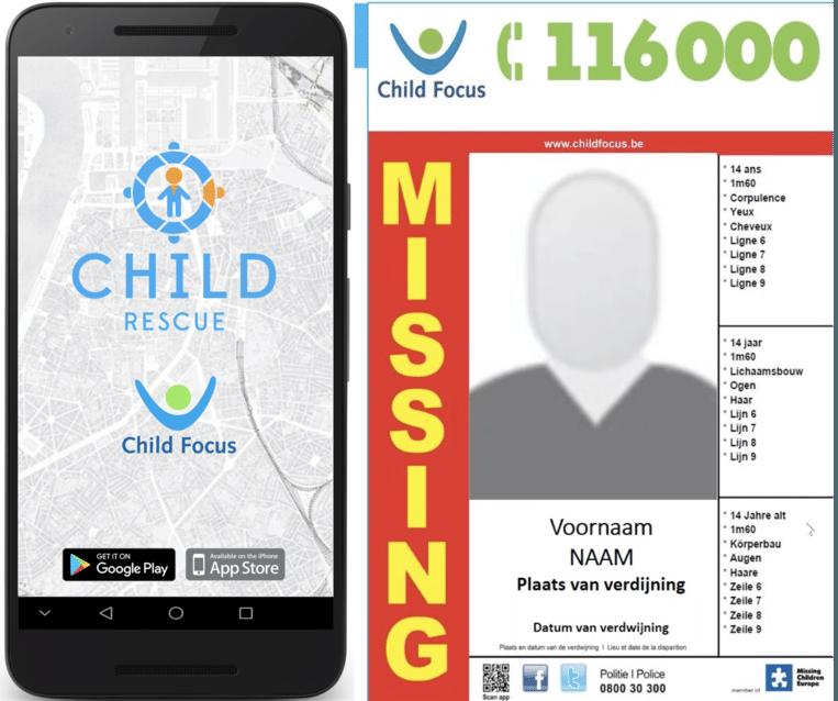 Child Focus lanceert de app ChildRescue, een extra middel om vermiste kinderen op te sporen. Beeld Child Focus