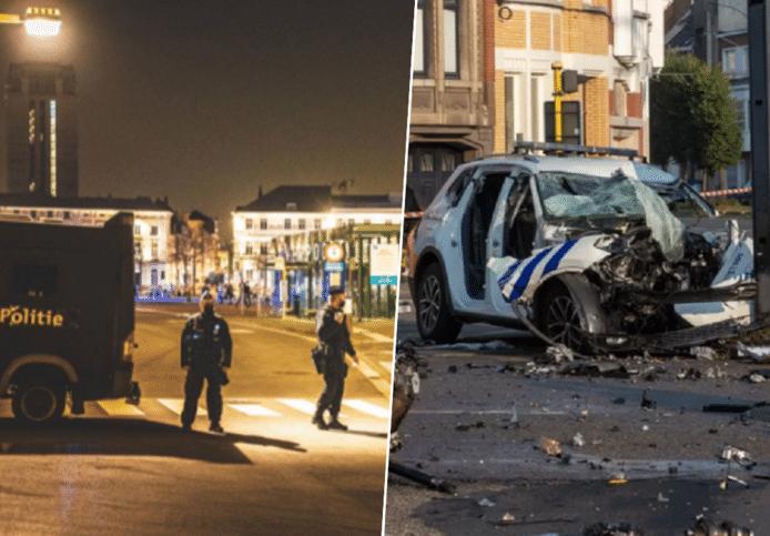 Links: archiefbeeld van politie in de Overpoort. Rechts: de gecrashte politiewagen na het ongeval van vanochtend.