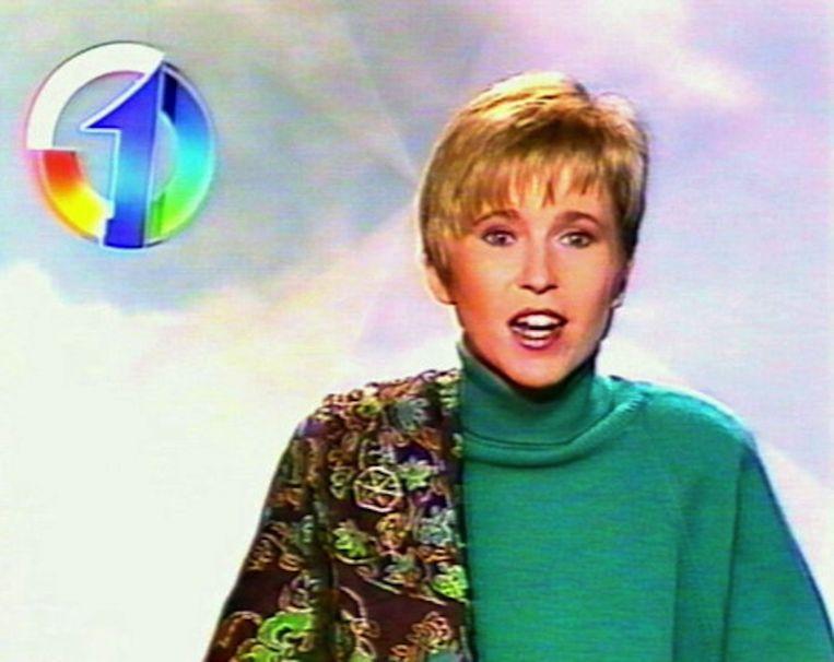 Als omroepster op het toenmalige TV1. Beeld vrt