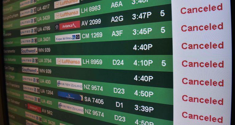 Alle vluchten geannuleerd. Beeld afp