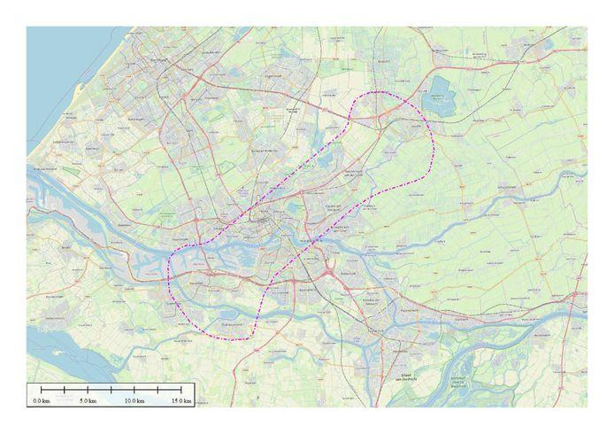 De vliegzone van de Eneco-vliegtuigjes voor de inspecties aan de stadsverwarming in Rotterdam en Capelle aan den IJssel.