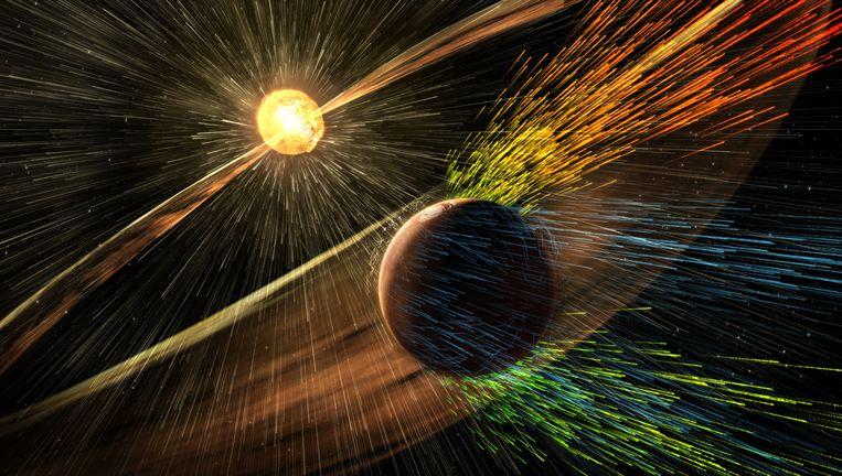 Artist's impression van een zonnewind die de atmosfeer van Mars wegblaast. Beeld NASA