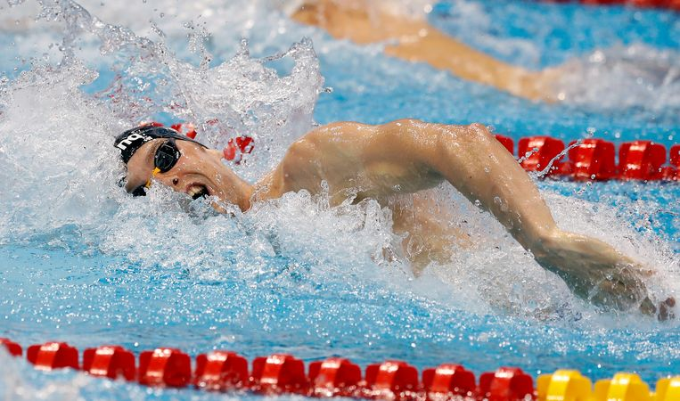 Sebastiaan Verschuren from The Netherlands swims to win the gold medal in the Men's 200m Freestyle Final during the European Swimming Championships at the London Aquatics Centre in London, Wednesday, May 18, 2016. (AP Photo/Matt Dunham) Beeld AP