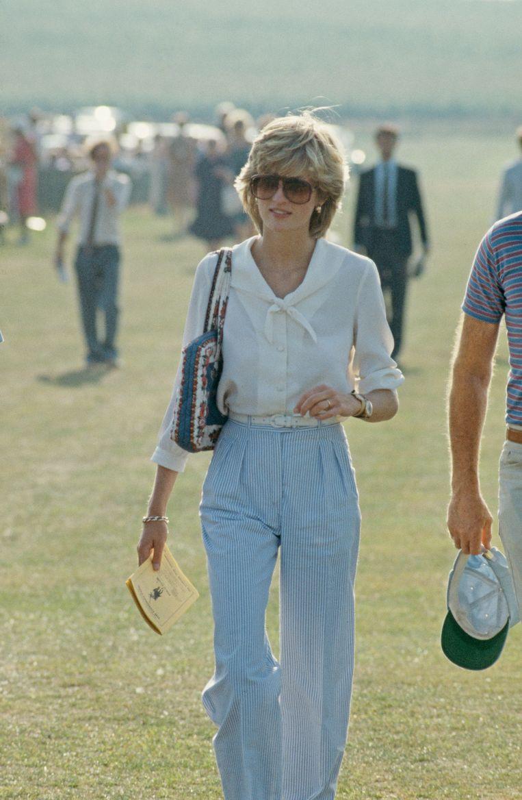 Prinses Diana bij een polowedstrijd in West Sussex. Beeld Getty Images