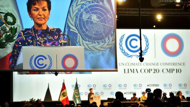 Christiana Figueres aan het woord in Lima.