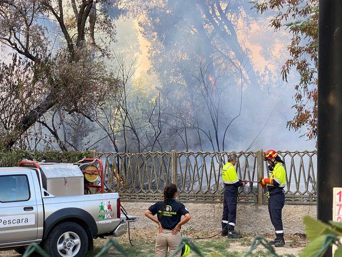 Brandweerlieden bestrijden de brand in het natuurreservaat Pineta Dannunziana in Pescara.