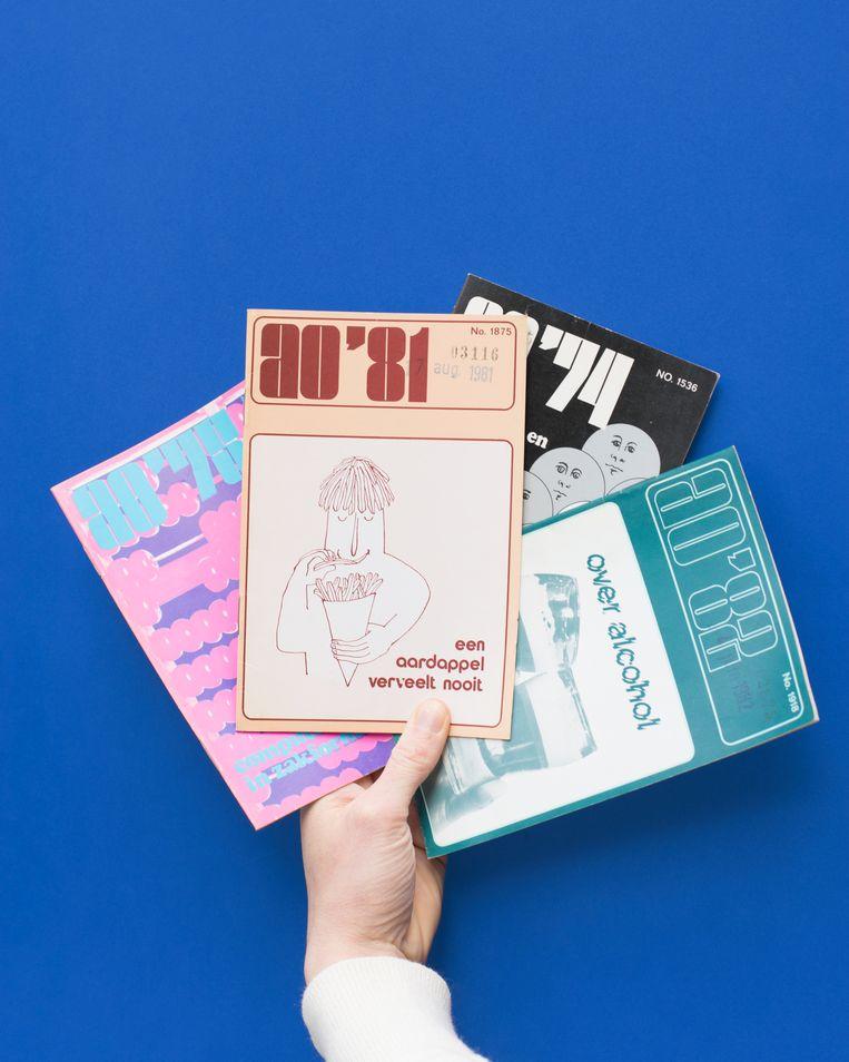 AO-boekjes die Gidi gratis afhaalde bij Bert. Beeld Annabel Miedema