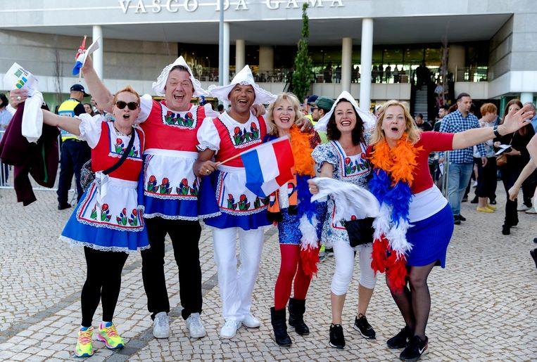 Fans van het songfestival zijn naar Lissabon afgereisd om Nederland te vertegenwoordigen Beeld ANP