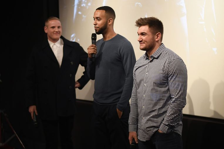 Alek Skarlatos, Spencer Stone en Anthony Sadler. Beeld AFP