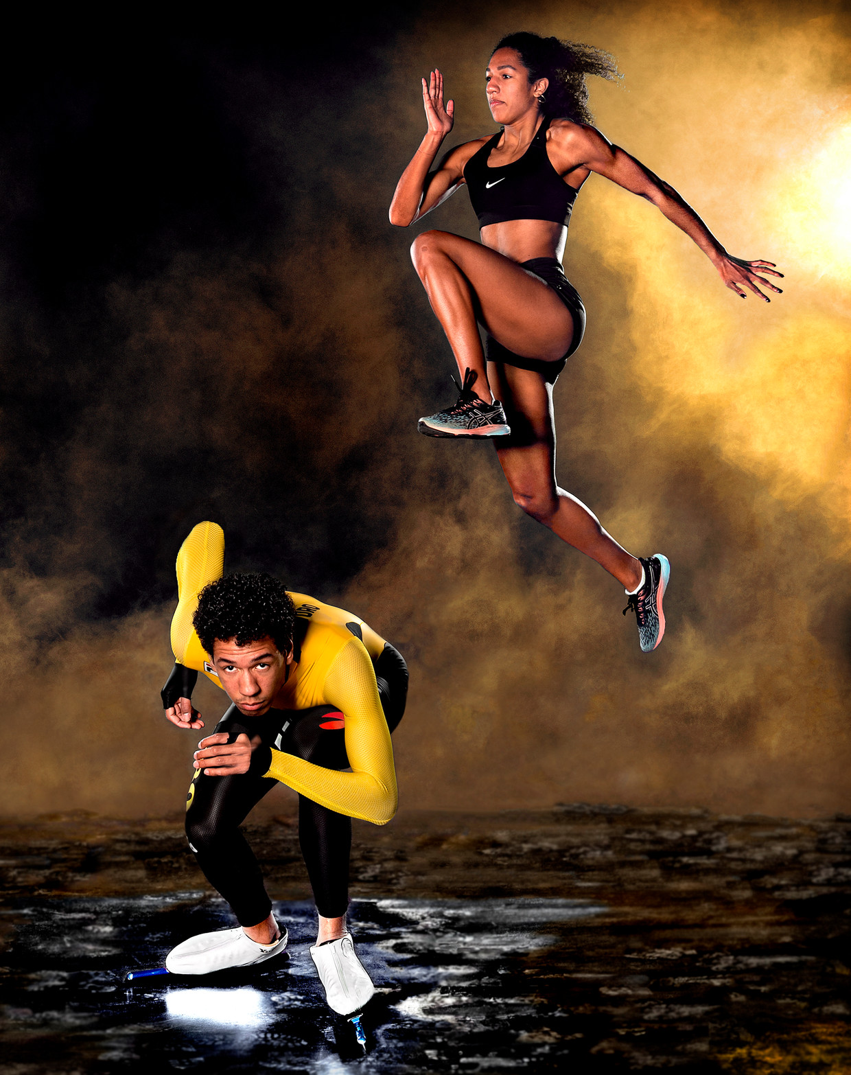 Tara Yoro springt in de studio over haar broer Serge Yoro. Beeld Klaas Jan van der Weij