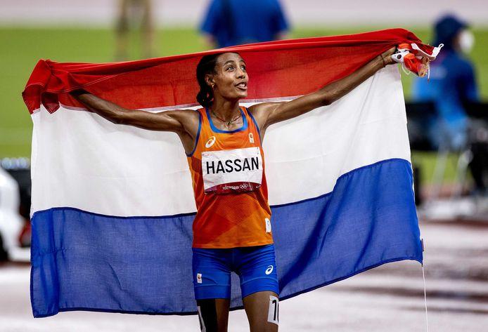 Sifan Hassan na haar gouden race op de 5000 meter.