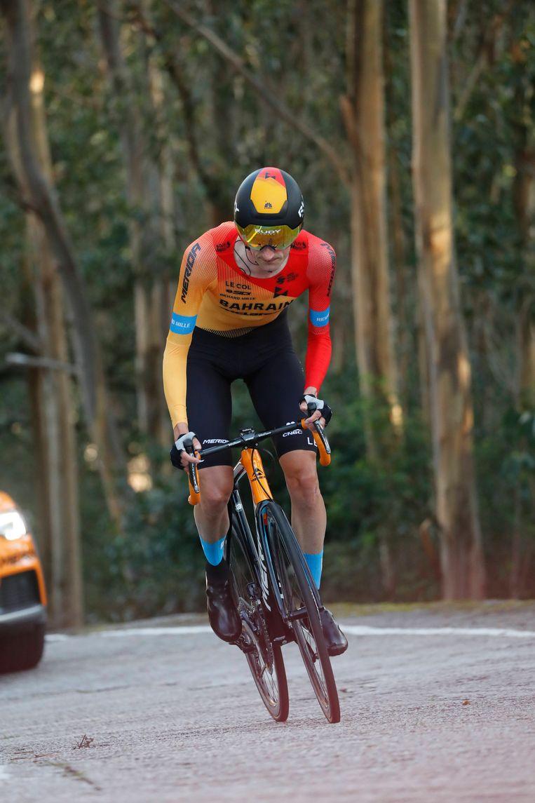 Wout Poels in actie tijdens de tijdrit in de Ronde van Spanje. Beeld BSR Agency